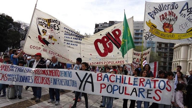 Bachilleratos populares realizarán clase pública en el Ministerio de Educación