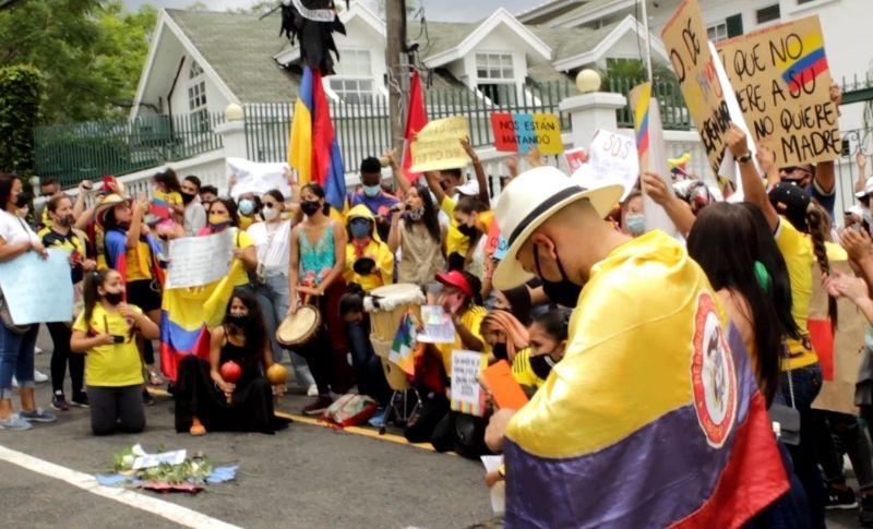Plantón en apoyo a la rebelión en Colombia