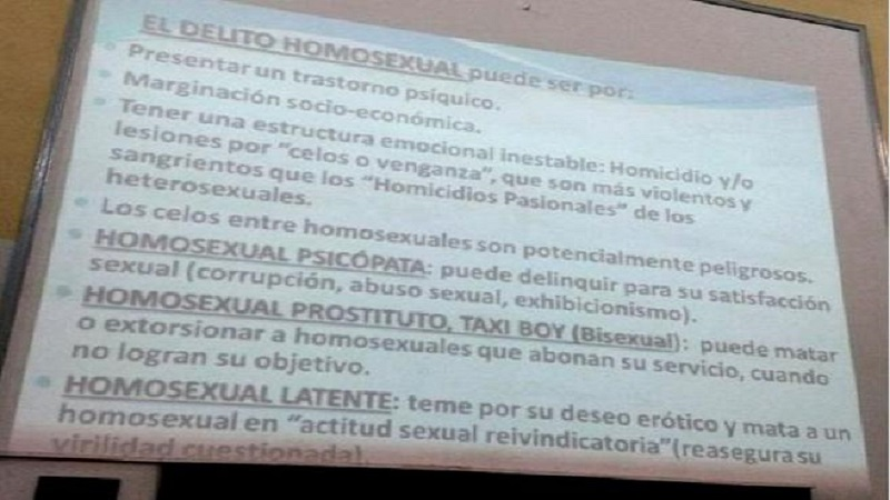 Contenido homofóbico en una clase de Medicina Legal en la UBA — Prehistórico