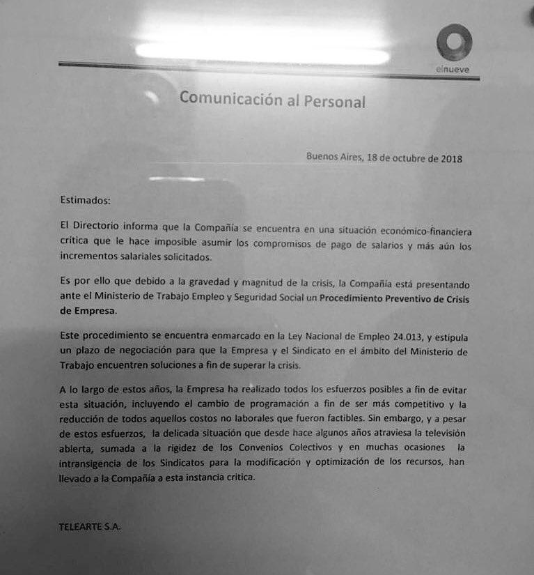 Canal 9 envió comunicado que no puede pagar salarios, inicia proceso preventivo