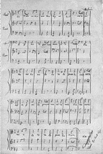 Facsímil original de la partitura de Pierre Degeyter