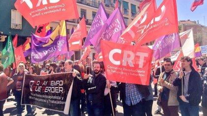 Importante cortejo de la CRT y Pan y Rosas este 1º de Mayo en Madrid