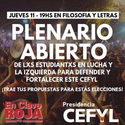 A las 19: plenario abierto de estudiantes en lucha y la izquierda en Filo