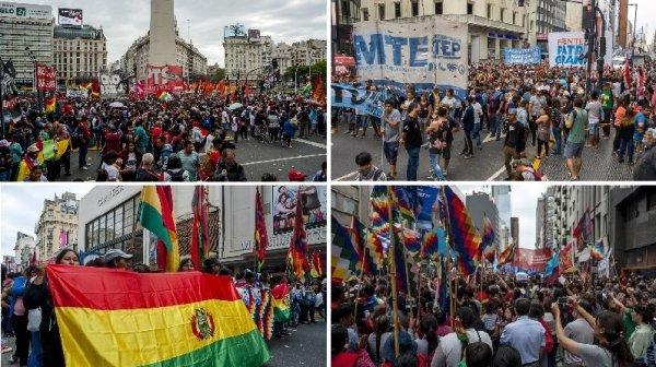 En el centro de Buenos Aires diversas organizaciones marcharon contra el golpe en Bolivia