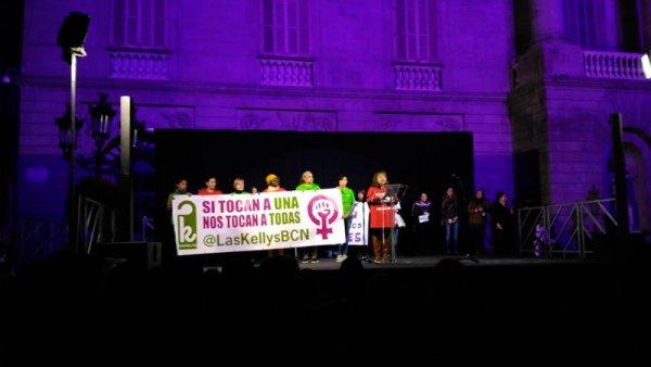 """""""Hay que perder el miedo"""", el manifiesto de Las Kellys Barcelona leído el 8M"""